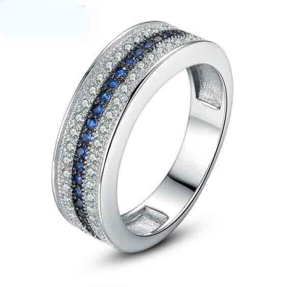 Aliança / Anel com pedras zircão brancas e azuis safira