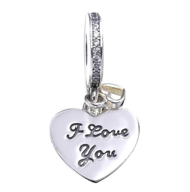 Conta pingente de prata 925 compatível com pandora (I love you)