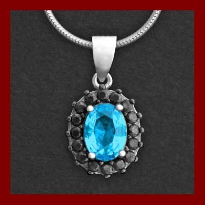 Pendente / Pingente de prata 925 com pedra Zircônia cúbica azul e preta (oval)
