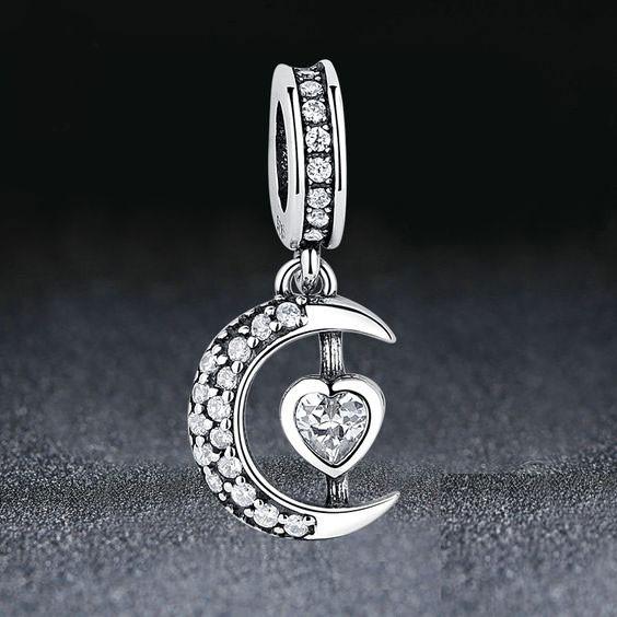 Conta pingente de prata 925 compatível com pandora (meia lua)