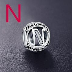 Conta de prata 925 compatível com pandora (letra N)