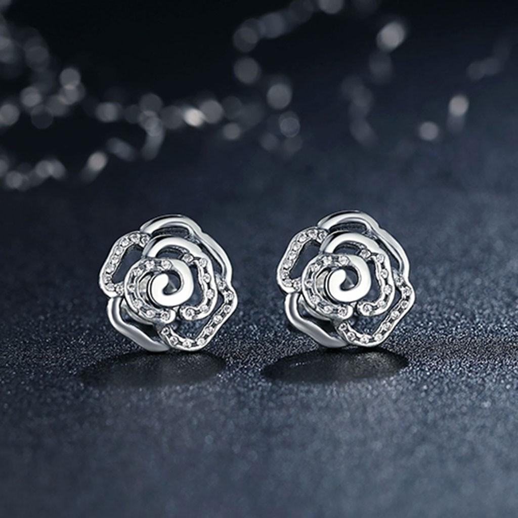 Brincos de prata 925 com pedras zircão (Rosa brilhante)