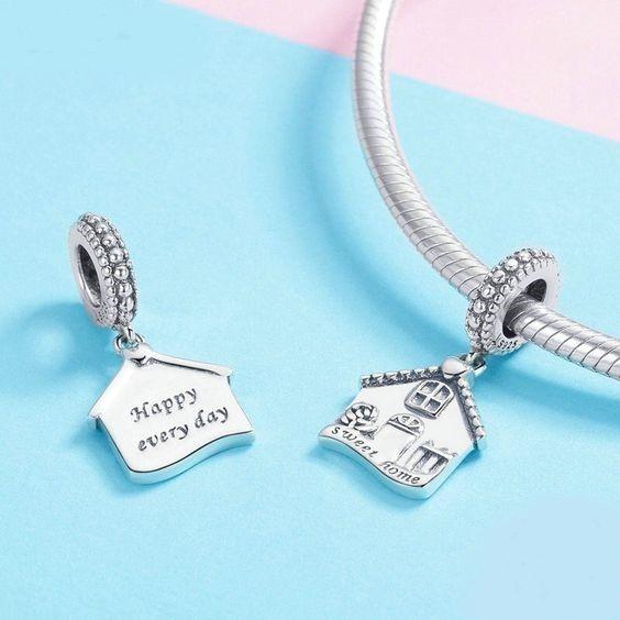 Conta pingente de prata 925 compatível com pandora (sweet home)
