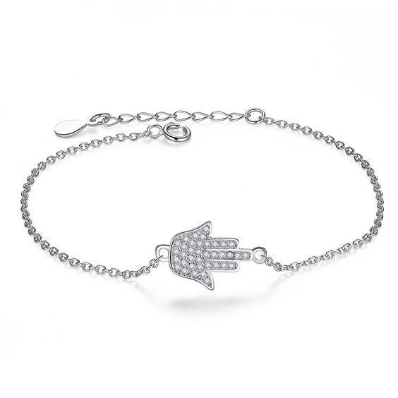 Pulseira de prata 925 compatível com pandora (mão de proteção)