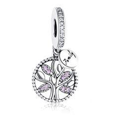 Conta pingente de prata 925 compatível com pandora (árvore família)