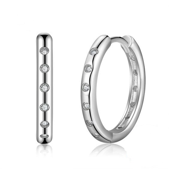 Argolas / Brincos de prata 925 com pedras zircão compatíveis com Pandora (quantidade ínfima)