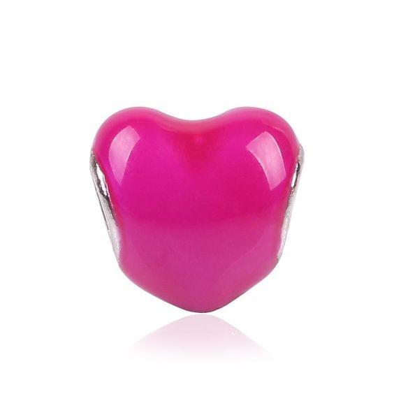 Conta compatível com pandora (coração rosa)
