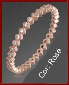 Anel / aliança de prata 925 banhada a ouro rosé com pedras zircão