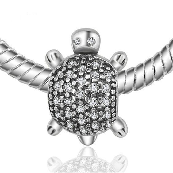 Conta de prata 925 compatível com pandora (tartaruga)