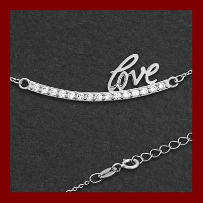 Fio de prata 925 com pendente - LOVE e pedras zircão