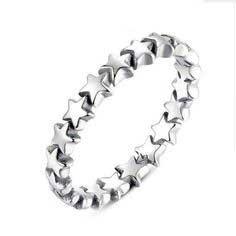 Anel / aliança de prata 925 com pedras zircão compatível com pandora (estrelas)