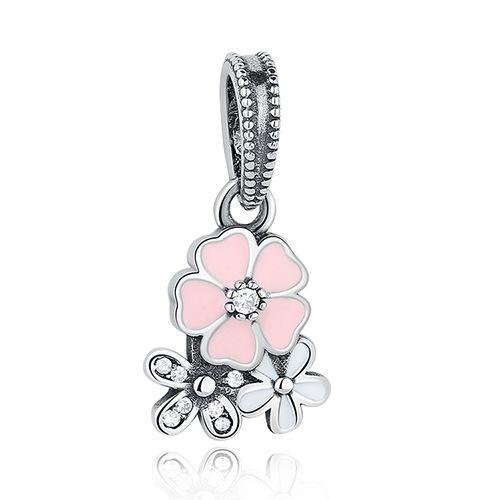 Conta pingente de prata 925 compatível com pandora (Flores poéticas)