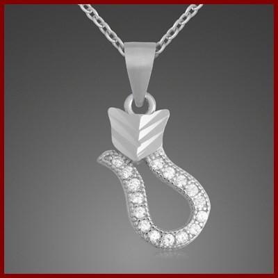 Pendente / Pingente de prata 925 com pedras zircão (gato)