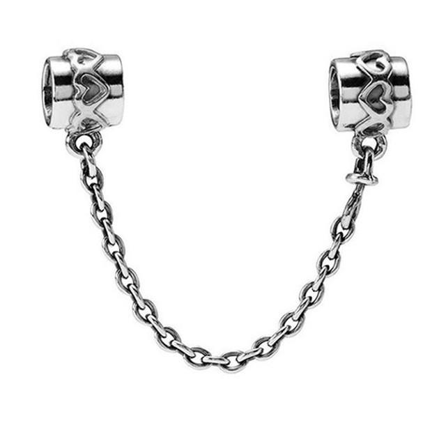 Corrente de prata compatível com pandora (corações)