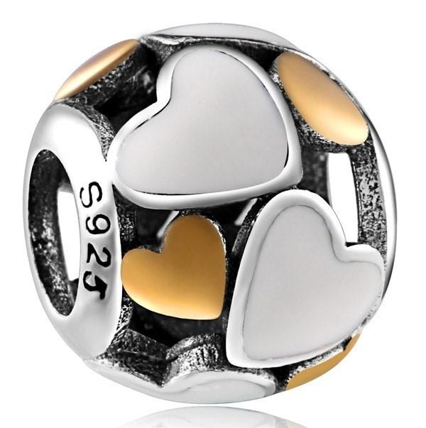Conta de prata 925 compatível com pandora (corações luminosos)