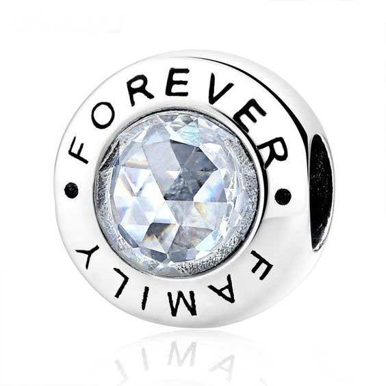 Conta de prata 925 compatível com pandora (Family forever)