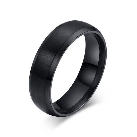 Aliança / anel de aço inoxidável cor preta
