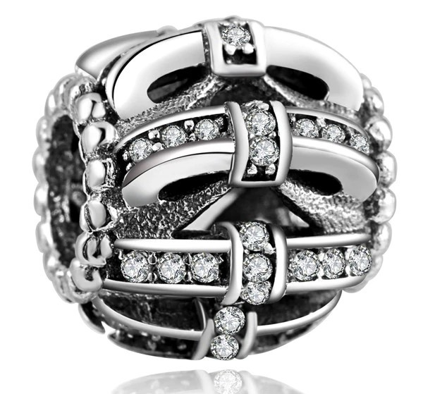 Conta de prata 925 compatível com pandora (laços)