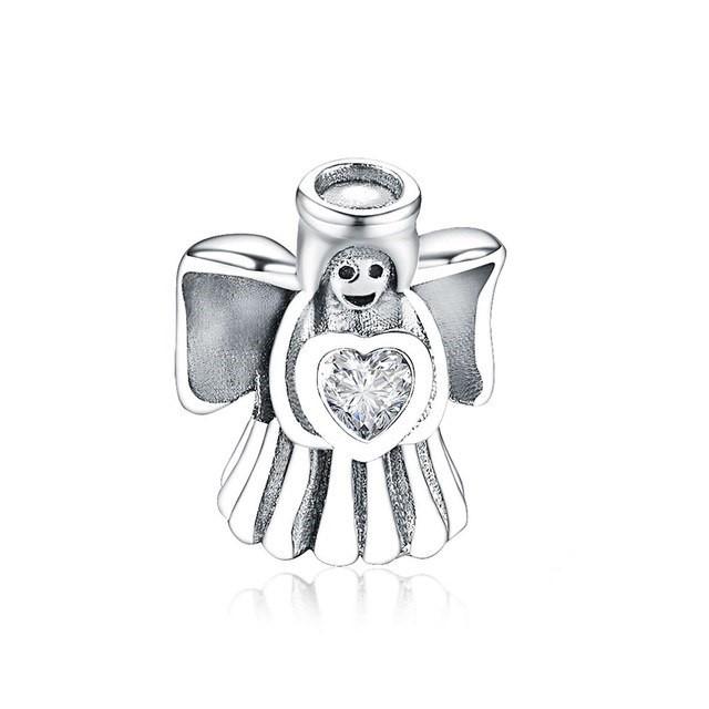 Conta de prata 925 compatível com pandora (anjo da guarda)
