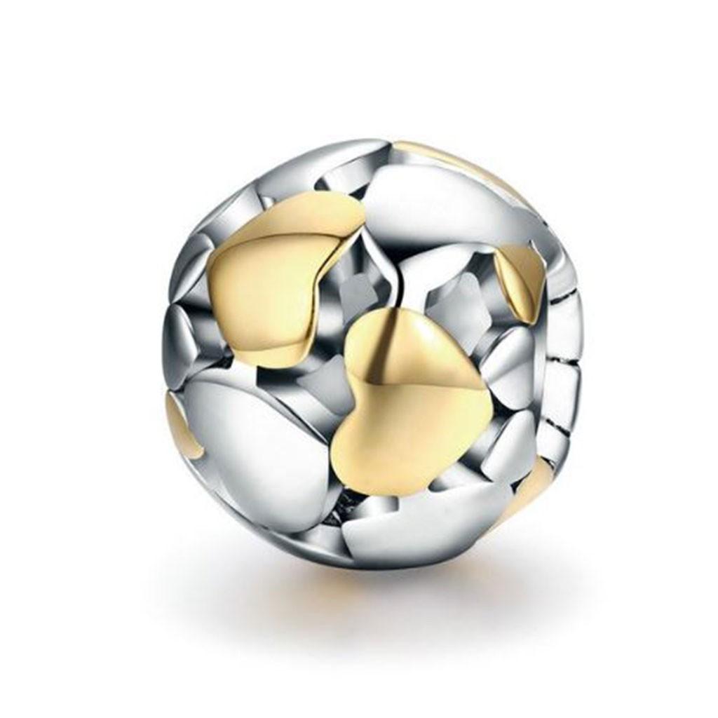 Conta de prata 925 compatível com pandora (corações dourados)