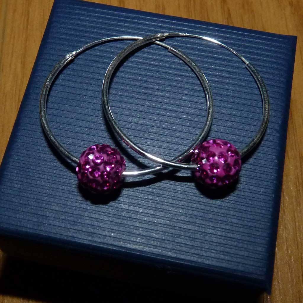 Brincos / argolas prata 925 c/ cristais preciosa rosa fucsia