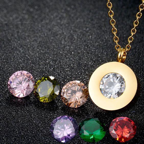Pendente / pingente de aço inoxidável compatível com BVLGARI, cor ouro (9 pedras de oferta)