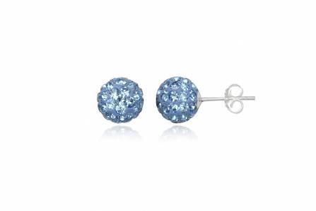 Brincos de prata 925 com cristais preciosa azul safira claro (8mm)