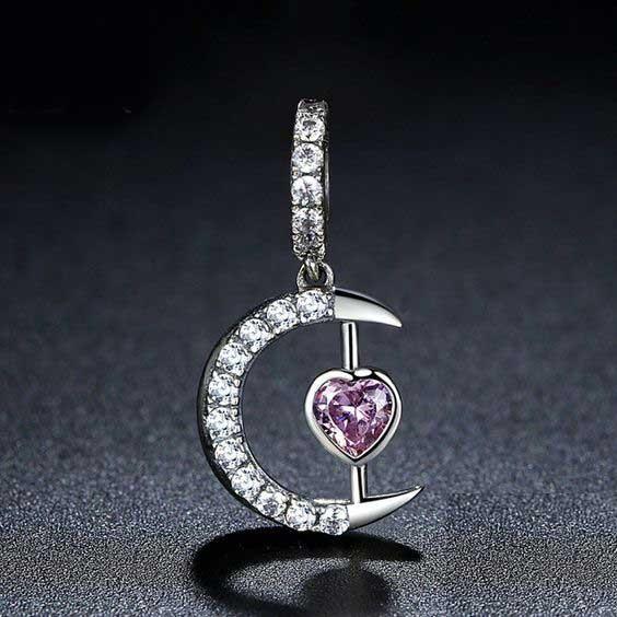 Conta pingente de prata 925 compatível com pandora (meia lua - pedra rosa)