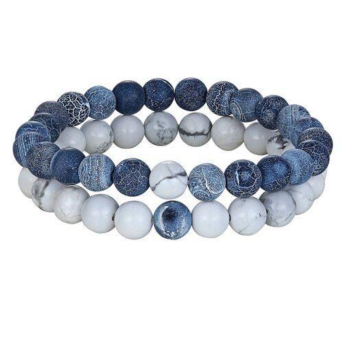 Pulseira de pedra natural (branco/azul)