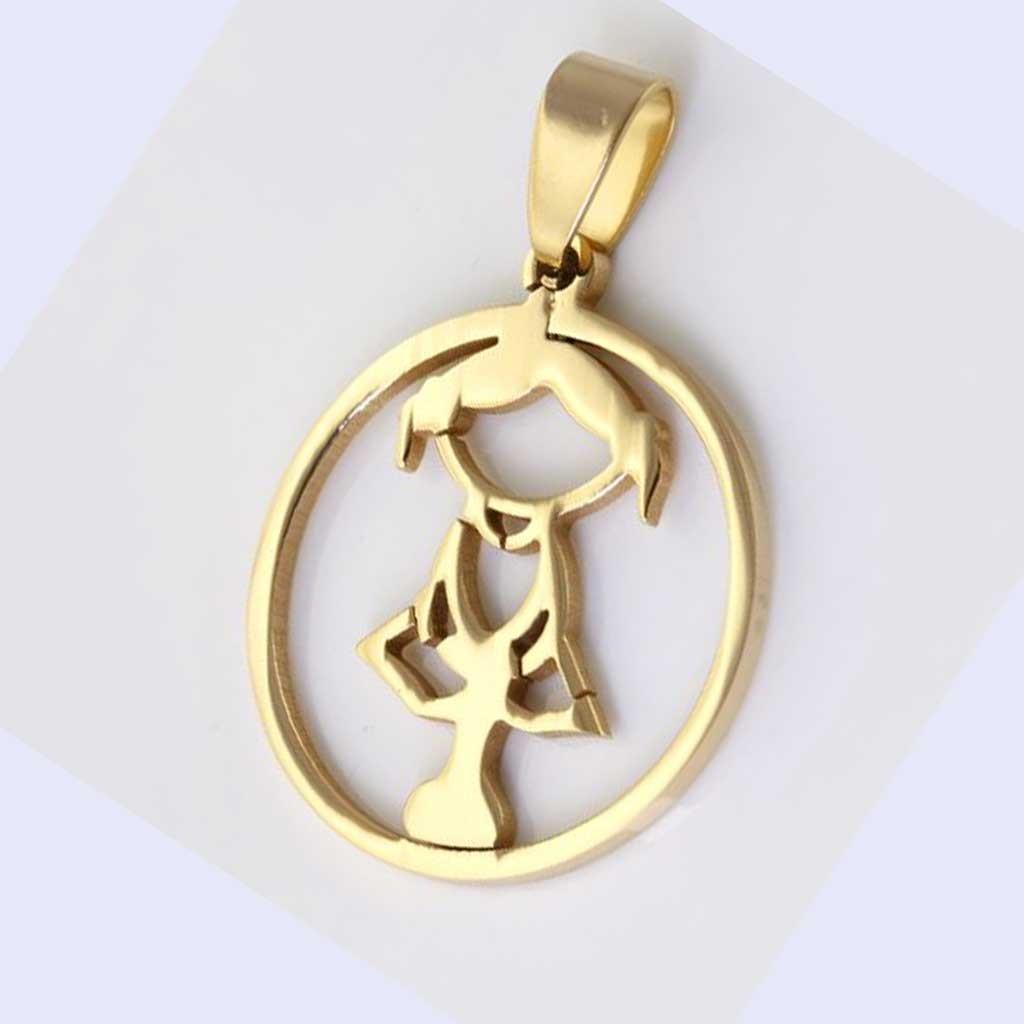 Pingente / pendente de aço inoxidável cor ouro (menina)