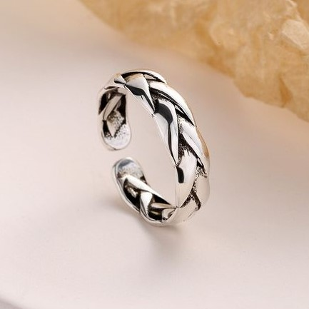 Anel de prata vintage - entrelaçado (ajustável)
