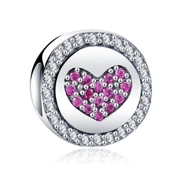 Conta de prata 925 compatível com pandora (coração rosa)