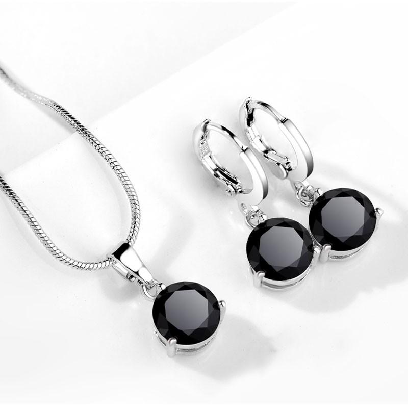 Conjunto brincos e pendente banhado à prata 925, com zircão / zirconica