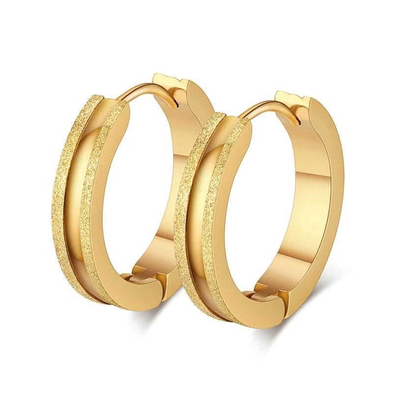 Brincos / argolas de aço inoxidável cor ouro (antialérgico)
