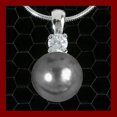 Pendente / Pingente prata 925 com pérola cinza e pedra zircão