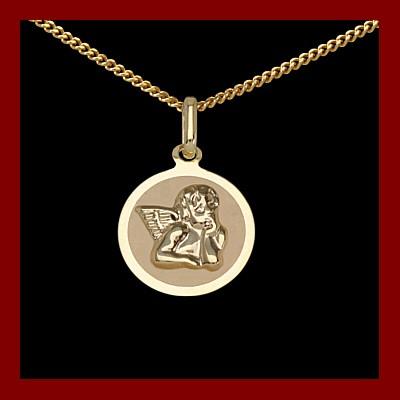 Pendente / Pingente de ouro 333 com anjo da guarda