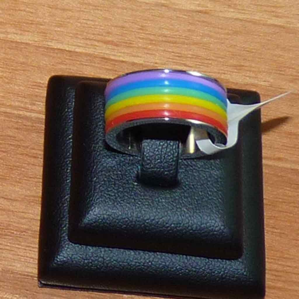 Aliança / anel de aço inoxidável arco-íris (7mm)
