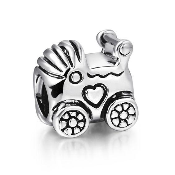 Conta banhada a prata 925 compatível com pandora (carrinho de bebe)