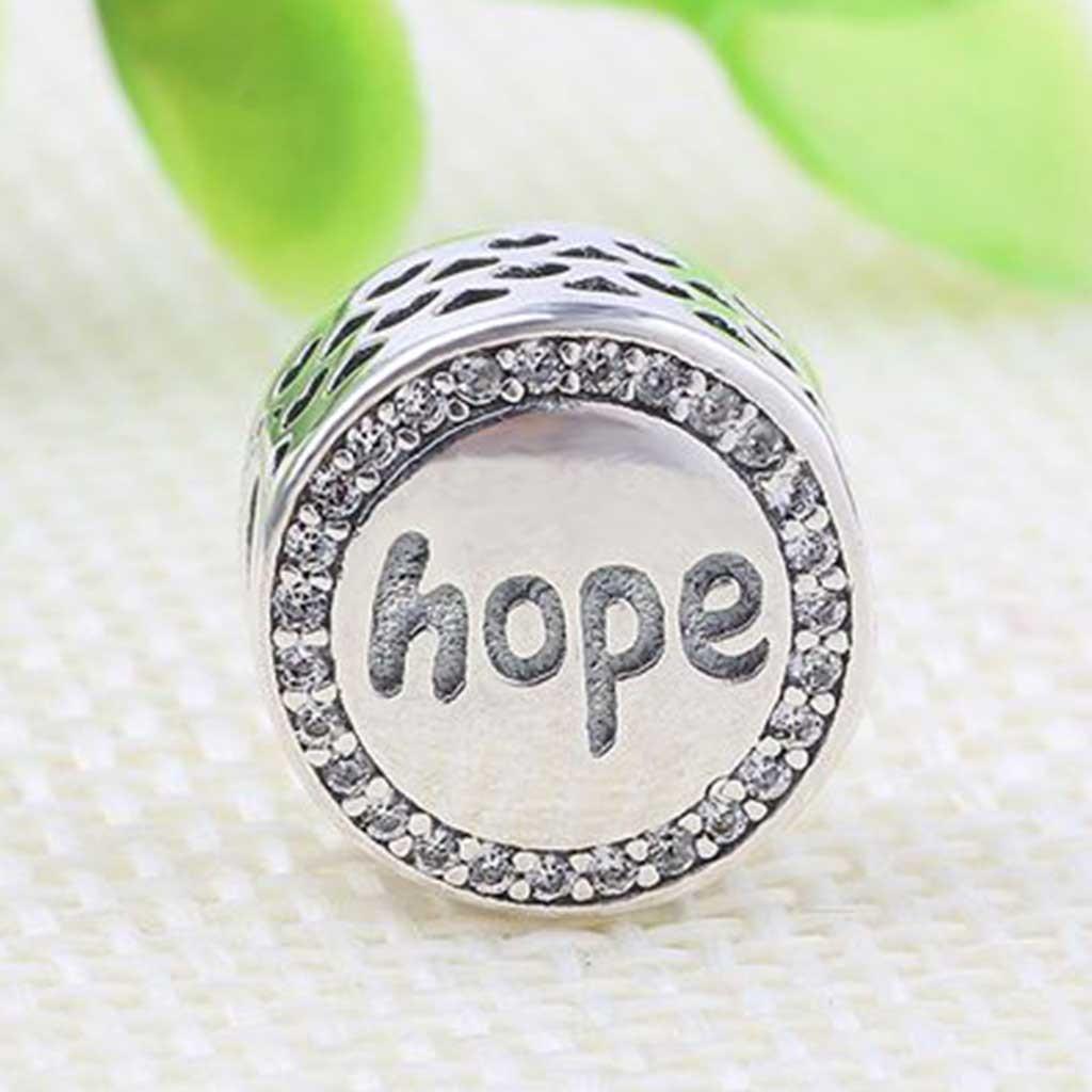 Conta de prata 925 compatível com pandora (hope - esperança)
