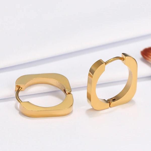Argolas quadradas / brincos de aço inoxidável cor ouro