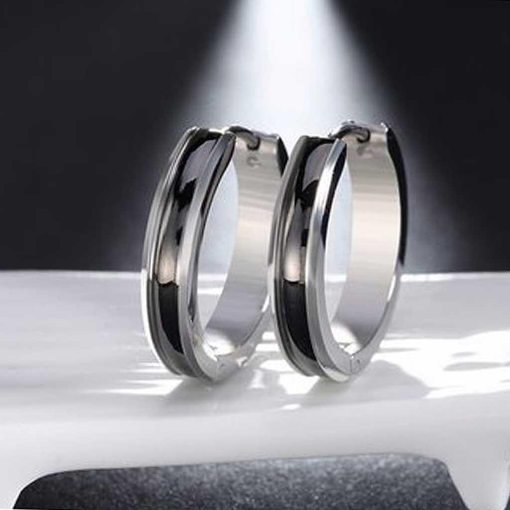 Brincos de aço inoxidável cor prata e preto