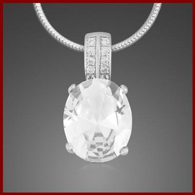 Pendente / Pingente de prata 925 com pedras Zircônia cúbica (oval)
