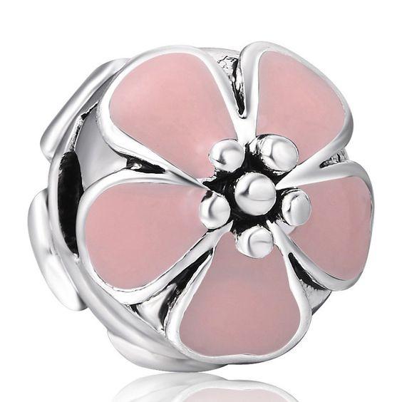 Conta banhada a prata compatível com pandora (flor de cerejeira rosa) - clip