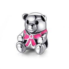 Conta banhada a prata 925 compatível com pandora (Urso de peluche rosa)