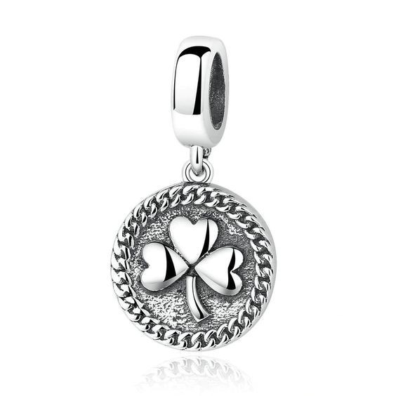 Conta pingente de prata 925 compatível com pandora (trevo)