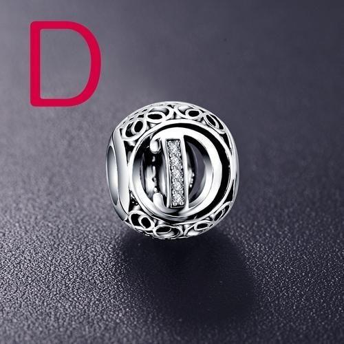 Conta de prata 925 compatível com pandora (letra D)