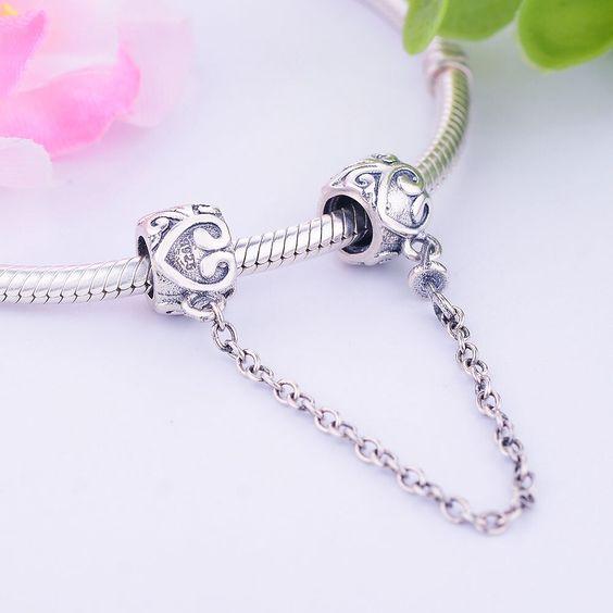 Corrente de prata compatível com pandora (coração)