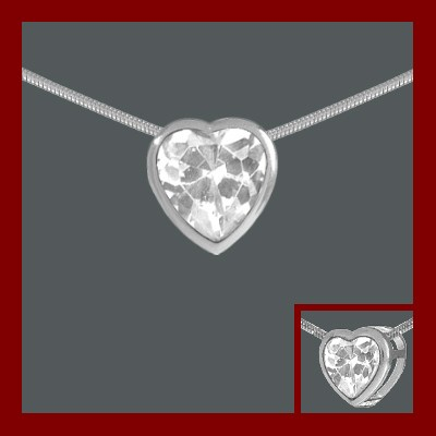 Pendente / Pingente de prata 925 com pedra Zircônia cúbica (coração)