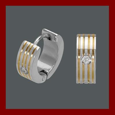 Brincos / argolas de aço inoxidável bicolor