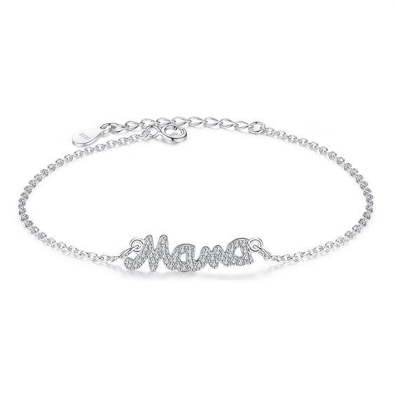 Pulseira de prata 925 compatível com pandora (Mama)